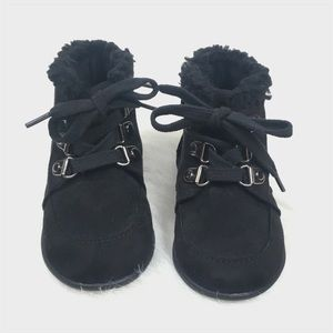 happy soda Shoes - Happy Soda Toddler Girl Black Faux Suede Fur Boots
